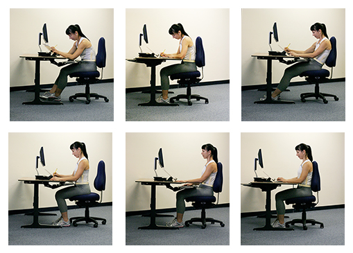 There are many ways to sit, and there are many different kinds of work. People find different ways to get support from the chair and the work surface. How the hand and eye are used is a strong influence on how the body will move. Getting the most support from the legs, the chair and the work surface makes the job more safer and more productive.